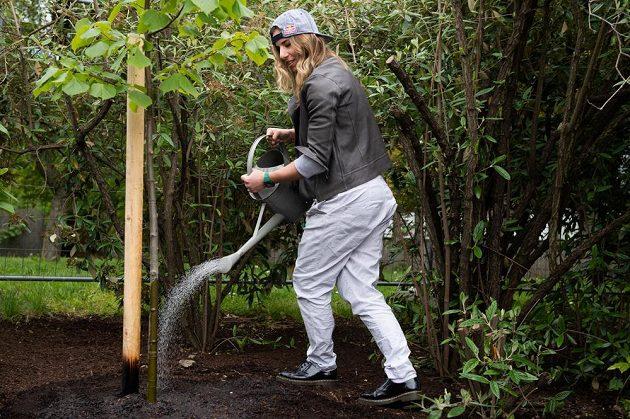 Ester Ledecká zalévá čerstvě zasazený strom v rámci projektu Kořeny osobností.
