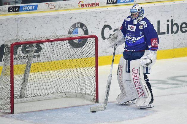 Brankář hokejové Komety Brno Marek Čiliak po inkasovaném gólu.