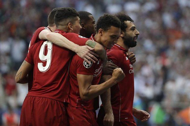 Liverpoolská radost. Reds vedli ve finále Ligy mistrů poté, co Mohamed Salah proměnil penaltu.