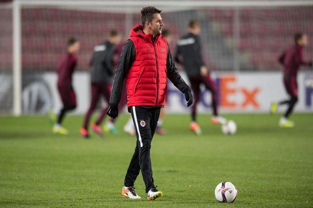 Trenér Sparty Praha David Holoubek na středečním tréninku.