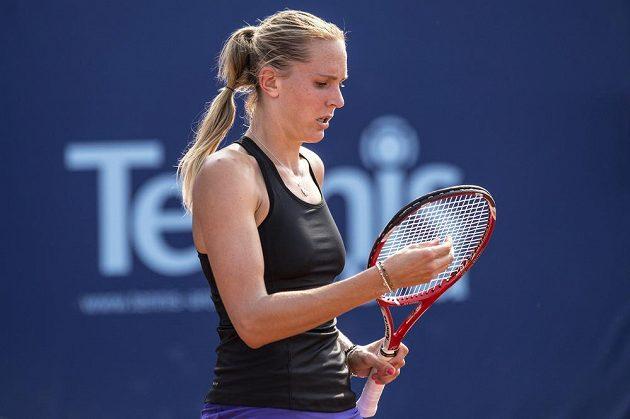 Soustředění české tenistky Nicole Vaidišové během úvodního kola turnaje na Štvanici.