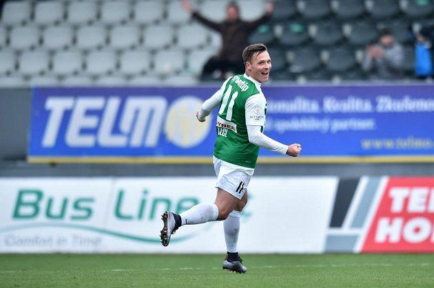 Stanislav Tecl z Jablonce se raduje z gólu proti Brnu.