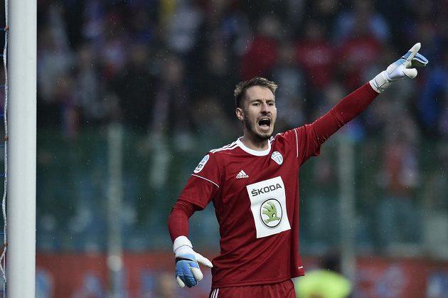 Brankář Luděk Vejmola z Mladé Boleslavi inkasoval od Plzně dvě branky do 14. minuty zápasu 8. kola první ligy.