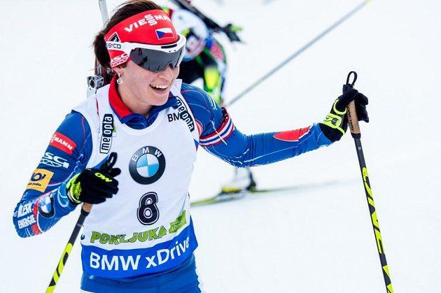 Česká biatlonistka Veronika Vítková brala v cíli čtvrtou příčku.