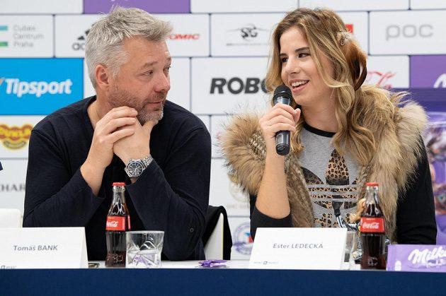 Tomáš Bank a Ester Ledecká během tiskové konference před sezónou.
