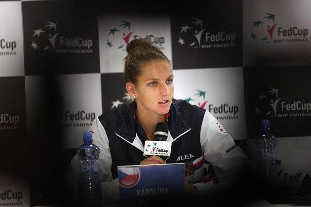 Karolína Plíšková na tiskové konferenci v Ostravě.