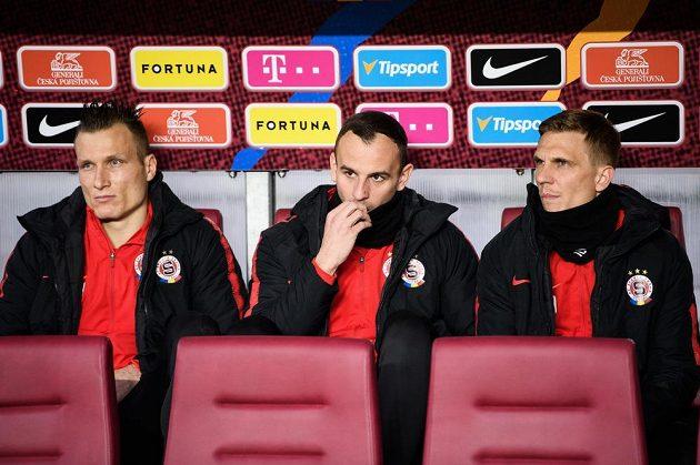 Fotbalisté Sparty Praha Lukáš Štetina (vlevo), David Lischka a Bořek Dočkal během utkání se Zlínem.