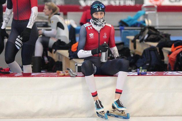Martina Sáblíková při tréninku na mistrovství světa v Inzellu.