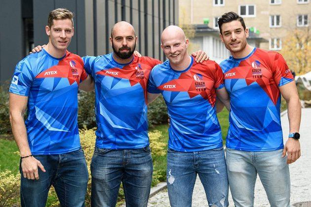 Posádka českého čtyřbobu (zleva): Dominik Dvořák, Dominik Suchý, Jan Šindelář a Jakub Nosek.