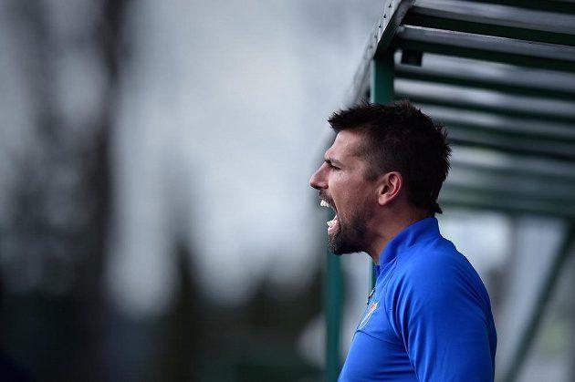 Uzdravený Milan Baroš z Baníku během prvního poločasu na střídačce.