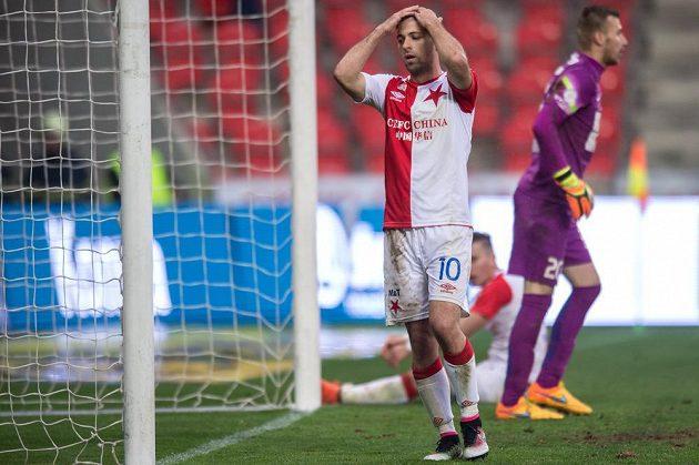 Zklamaný Josef Hušbauer během zápasu s Jabloncem.