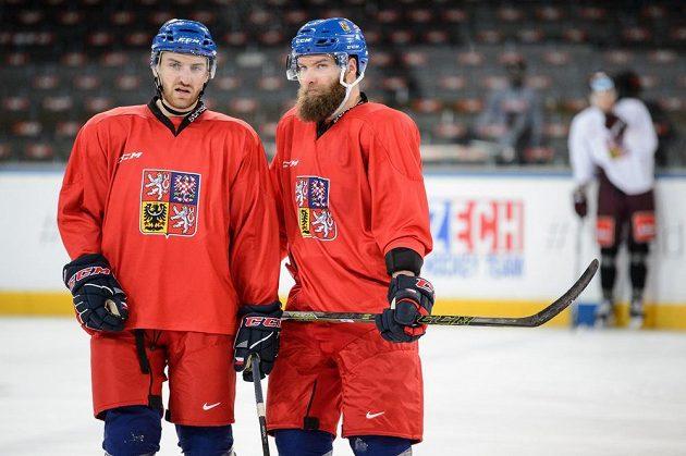 Jakub Nakládal (vlevo) a Adam Polášek během tréninku hokejové reprezentace v rámci přípravy na ZOH 2018 v Pchjongčchangu.