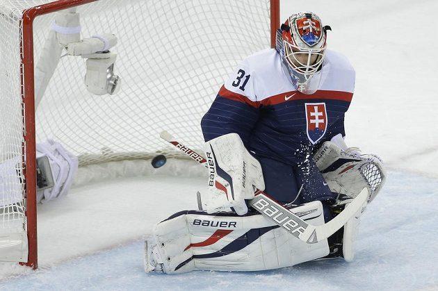 I slovenské dresy se hodně líbily. Na snímku Peter Budaj v okamžiku, kdy inkasuje gól v utkání proti USA.