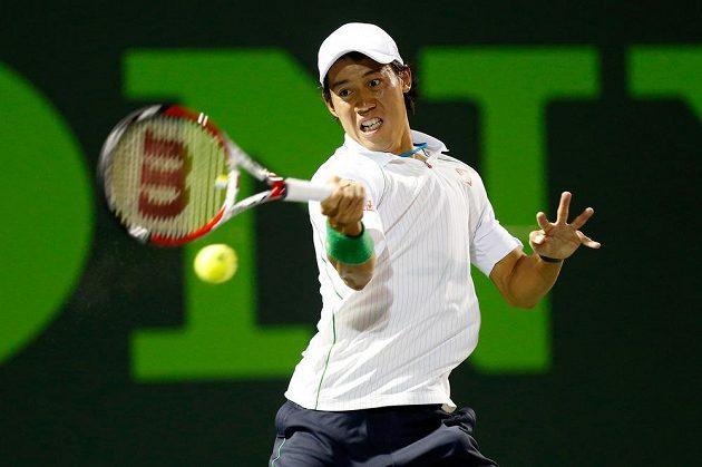 Japonský tenista Kei Nišikori na turnaji v Miami.