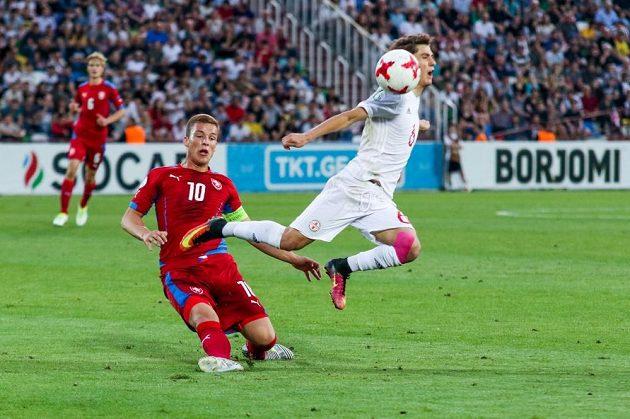 Kapitán Ondřej Šašinka v utkání s Gruzií.
