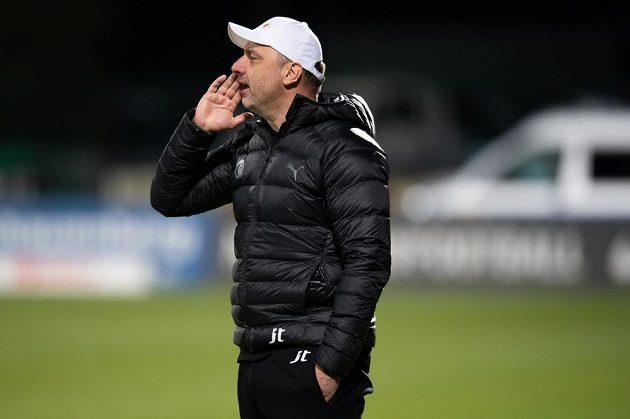 Trenér Slavie Praha Jindřich Trpišovský během utkání v Příbrami.