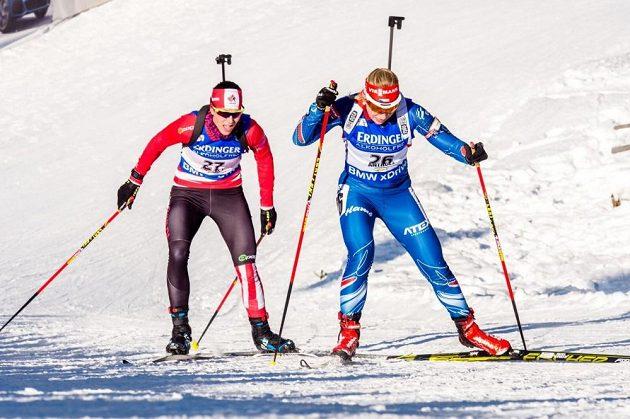 Česká biatlonová naděje Lucie Charvátová na trati sprintu v Anterselvě.