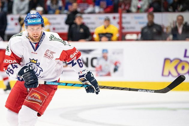 Jiří Sekáč z Česka během utkání Euro Hockey Challenge proti Německu.