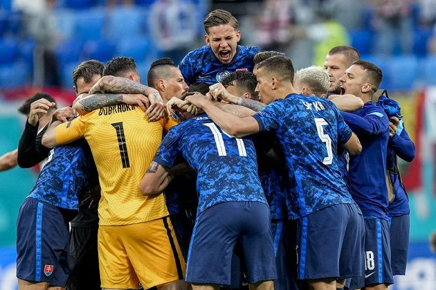 Slovak football joy after winning the EURO over Poland.