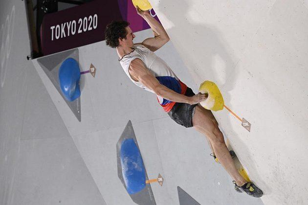 Sportovní lezec Adam Ondra během olympijské kvalifikace.