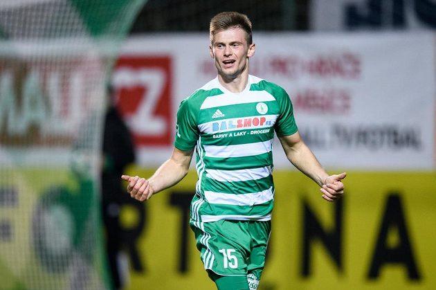 Daniel Krch z Bohemians oslavuje vítězný gól v duelu s Příbramí.