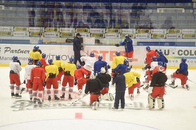 Trénink české hokejové reprezentace v ostravské Ostravar Aréně před zápasy Euro Hockey Tour s Ruskem.