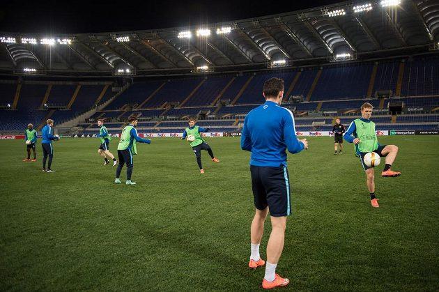 Fotbalisté Sparty Praha během tréninku na Olympijském stadiónu v Římě.