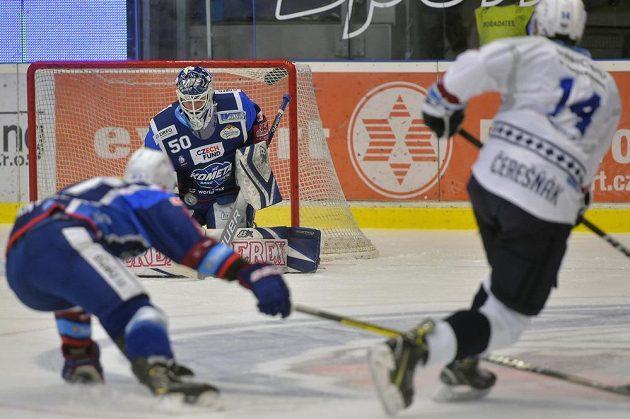 Hokejový brankář Brna Karel Vejmelka.