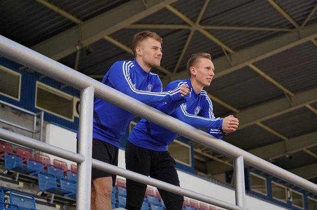 Ondřej Hapal (vlevo) a Radek Látal na Andrově stadionu v Olomouci.