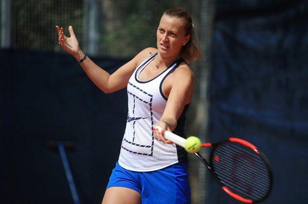Petra Kvitová na posledním tréninku v areálu pražské Sparty před odletem do Francie.