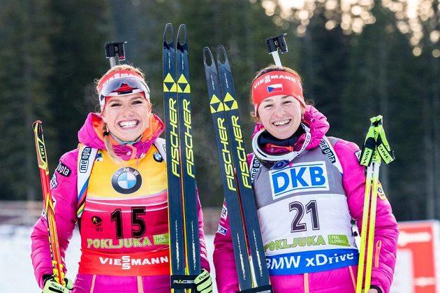 Gabriela Soukalová s Veronikou Vítkovou se jen těsně nevešly na stupně vítězek.