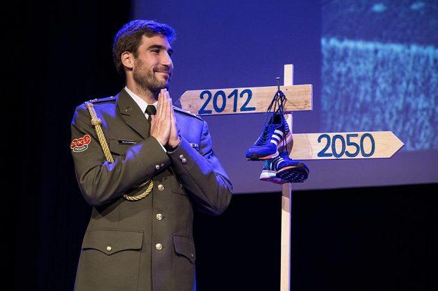 Dojatý olympijský vítěz David Svoboda během oficiální rozlučky s kariérou.