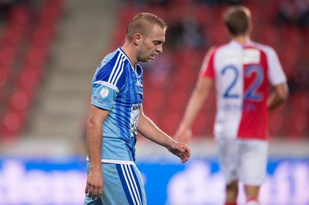 Útočník Mladé Boleslavi Jiří Skalák během utkání v Edenu se Slavií.