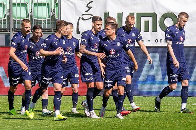 Radost hráčů Slovácka v utkání 31. kola Fortuna ligy.