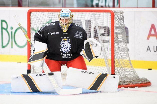 Brankář Daniel Vladař během tréninku v rámci letního kempu hokejové reprezentace