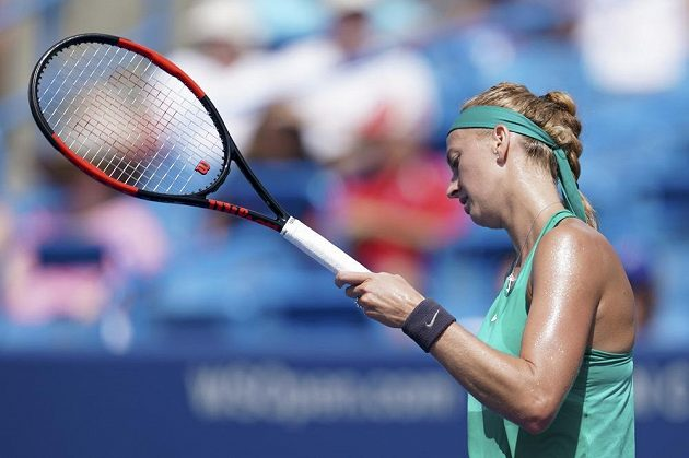 Zklamaná Petra Kvitová po vyřazení v semifinále turnaje v Cincinnati.