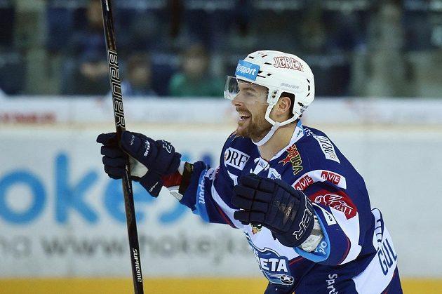 Michal Gulaši se raduje z třetího gólu Brna proti Liberci.