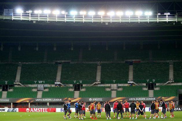 Plzeňští fotbalisté na tréninku před utkáním Evropské ligy s domácí Austrií Vídeň.