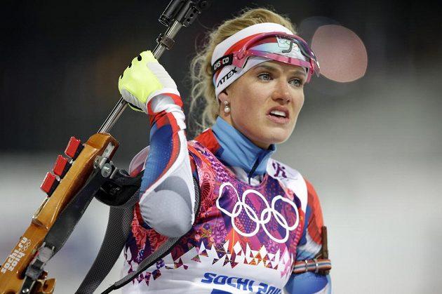 Česká biatlonistka Gabriela Soukalová získala stříbro v olympijském závodu na 12,5 km s hromadným startem.