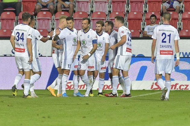 Mladá Boleslav players rejoice at the goal in Pilsen.