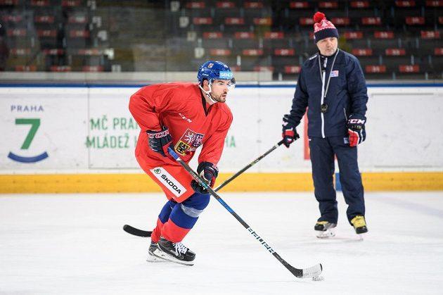 Michal Birner během tréninku hokejové reprezentace.
