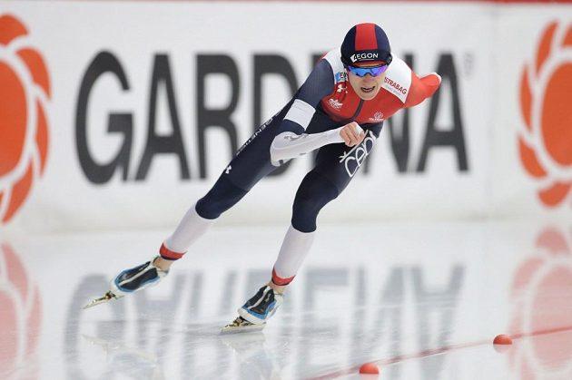 Martina Sáblíková na trati závodu na 3000 metrů při mistrovství světa v Inzellu.
