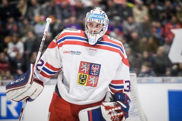 Český brankář Patrik Bartošák během utkání Euro Hockey Challenge se Švýcarskem.