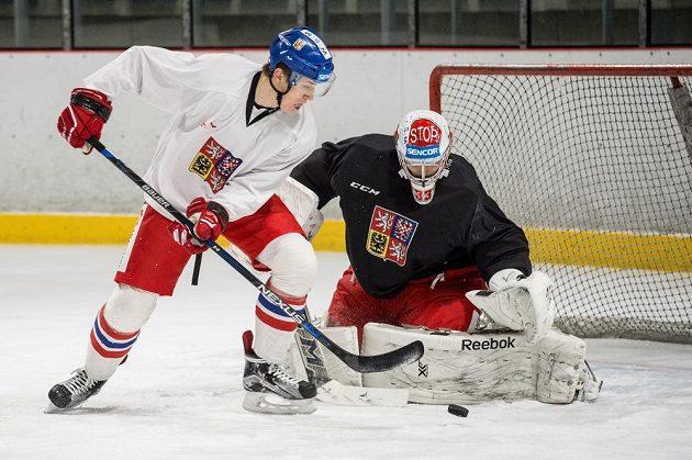 Útočník Lukáš Radil se snaží během tréninku hokejové reprezentace v Letňanech dopravit puk za záda brankáře Dominika Furcha.