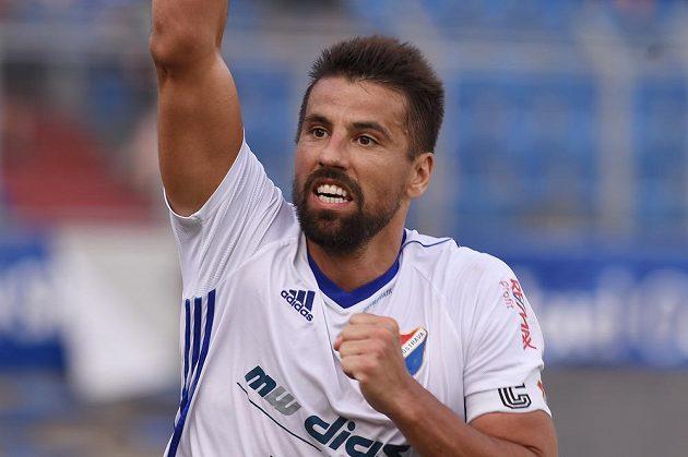 Milan Baroš se raduje z třetího gólu Baníku proti Spartě.