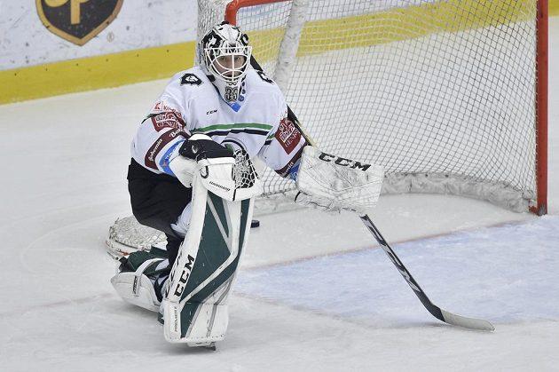 Brankář Mladé Boleslavi Radek Haas po inkasovaném gólu.