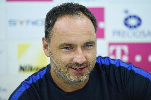 Trenér Slovanu Liberec Jindřich Trpišovský na tiskové konferenci před úvodním utkání play off Evropské ligy s Hajdukem Split.
