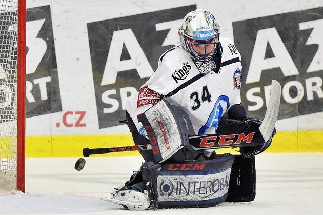 Brankář hokejové Plzně Dominik Frodl.