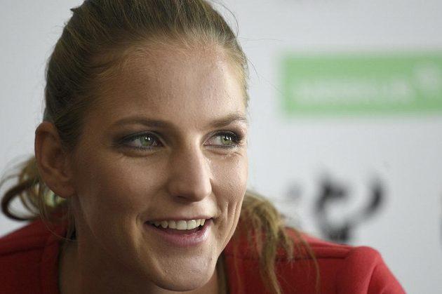 Tenistka Karolína Plíšková na tiskové konferenci v Praze.