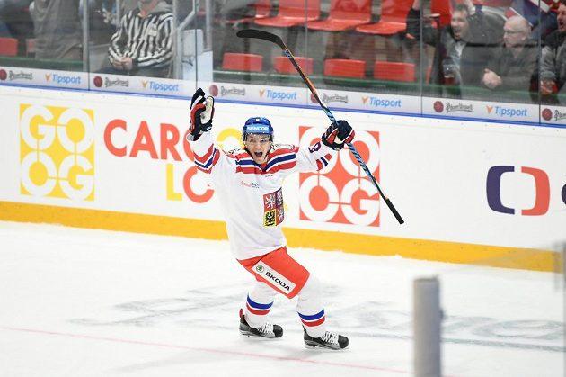 Jakub Galvas se raduje ze své první reprezentační trefy, kterou vstřelil při svém debutu v národním týmu.